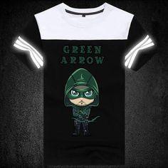 ROXINYUEHU Superhero Green Arrow Mens Fashion T shirt Summer Luminous Pattern T shirts DT002