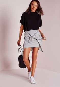 Missguided - Tie Front Jersey Mini Skirt Grey