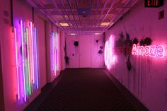 The electric wall lighting in this Quicken Loans office hallway is AMAZING! The only way this '80s themed foyer could be more 80s is if you paid Prince to stand there and sing Purple Rain all day.