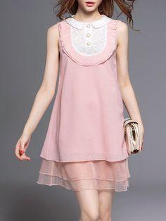 Pink Crew Neck A-line Sweet Mini Dress
