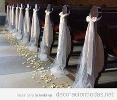 ideas for simple church wedding decorations, … - Church Wedding Decorations Aisle, Simple Church Wedding, Wedding Church Aisle, Wedding Pews, Wedding Chairs, Simple Weddings, Church Pews, Church Weddings, Trendy Wedding