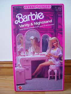 Barbie Sweet Roses Vanity & Nighstand, 1980s / 1990s  Not sure where all of it is now, but I had this as a kid.