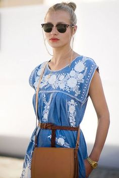 Embroidered blue sleeveless summer dress find more women fashion ideas on www.misspool.com