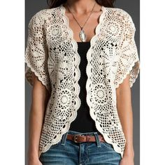 Here you see a hard-won victory. It is my latest sweater refashion inspired by the picture you see right below it. It is not exactly the same, but I think I came pretty close. Cardigan Au Crochet, Gilet Crochet, Crochet Jacket, Crochet Shawl, Knit Crochet, Crochet Sweaters, Crochet Vests, Crochet Tops, Lace Cardigan