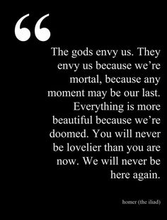 "HOMER, The Iliad - ""The Gods envy us. They envy us because we're mortal, because any moment may be our last. You will never be lovelier than you are now. Poetry Quotes, Book Quotes, Life Quotes, Literature Quotes, Quotes Quotes, Relationship Quotes, The Words, Pretty Words, Beautiful Words"