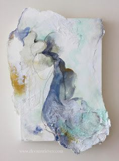 """Flood ; mixed media and machine embroidery on paper and wood panel ; 20"""" X 16"""" #art #deeannrieves www.deeannrieves.com"""