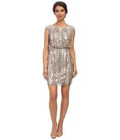 Adrianna Papell Short Blouson Art Deco Dress Nude - 6pm.com