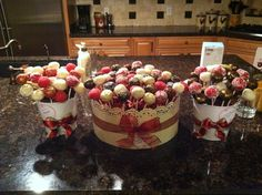 christmas cake pop display - gold, red, & white.