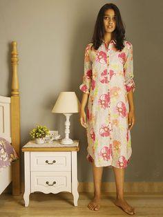 White Pink Linen Floral Shirt Dress