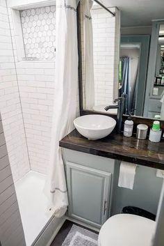 Camper Bathroom, Bathroom Storage, Small Bathroom, Bathroom Ideas, Bathroom Cabinets, Bathroom Mirrors, Bathroom Organization, Kitchen Cabinets, Bathroom Inspiration