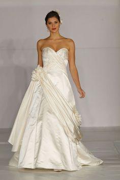 A-line spaghetti straps sweep / brush train charming satin wedding dress