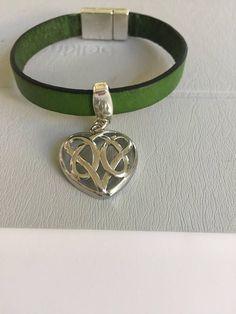 Silver Celtic Heart on Leather Bracelet