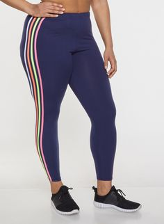 e5e1dd8214c Plus Size Neon Striped Leggings - Blue - Size 1X
