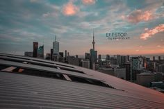 Toronto Skyline with a beautiful roof and cotton candy skies. Large size prints by effstop now available on Etsy!