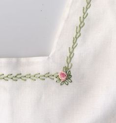 Green featherstitch outlines square yoke of batiste sundress. Pink bullion roses accent the corners. Made by Trudy Horne