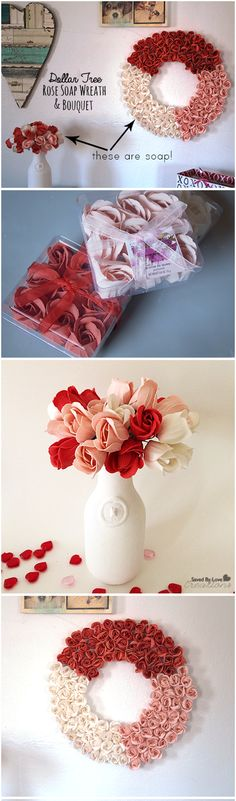 Super easy and cheap DIY; Dollar Tree Soap Rose Wreath and bouquet tutorial @savedbyloves