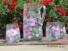 Pitcher set with four matching Glasses hand by ingeborgsorgent