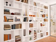 New Wall Storage Unit Built Ins Bookshelves Ideas Wall Shelf Unit, Bookshelf Design, Bookshelves Built In, Built Ins, Wall Shelves, Built In Shelves Living Room, Home Library Design, White Shelves, Wall Storage