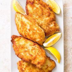 Crisp Breaded Chicken Cutlets with Parmesan (Chicken Milanese) - Cook's Country Garlic Fried Chicken, Breaded Chicken Cutlets, Breaded Chicken Recipes, Moist Chicken, Pork Cutlets, Crispy Chicken, Meat Recipes, Crockpot Recipes, French Nails
