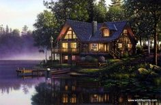 A gorgeous log cabin rests near the lake on a misty morning in Kim Norlien's Cabin Fever.