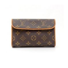 Pre-Owned Louis Vuitton Pochette Florentine Monogram Canvas Waist Bag ($299) ❤ liked on Polyvore featuring bags, handbags, brown, canvas pouch, brown handbags, canvas purse, louis vuitton handbags and pouch purse