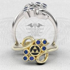 Glorious legend of Zelda inspired ring with Natural Sapphire &