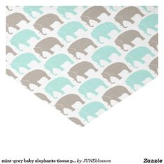 "mint-grey baby elephants tissue paper 10"" x 15"" tissue paper"