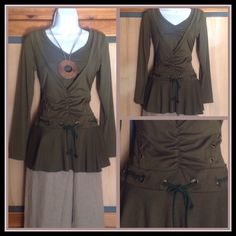 Unique Dark Olive Peplum Long Sleeve Tunic Top Super nice form fitting long sleeve top. Would look great with jeans or leggings. 95% viscose, 5% spandex. No size tag but most likely a small to medium. NWOT C & X Tops