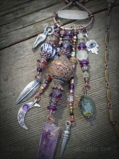 Amethyst, White jade, Labradorite, fluorite, vintage glass,  copper beads and silver charms