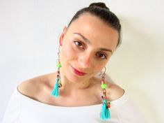 Handmade boho earrings with copper wire plastic by JewelryNeshElly, $18.00