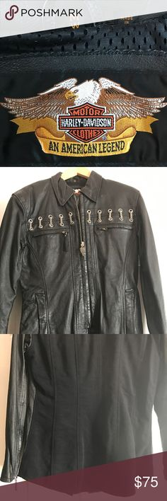 Harley Davidson leather jacket Excellent condition zips up the front and zippers on the arms Harley Davidson Jackets & Coats
