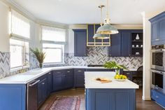 Blue And White Kitchen Cabinets - 10 blue tiful kitchen cabinet color ideas hgtv Design trend blue kitchen cabinets 30 ideas to get you Our diy blue white kitchen cabinets. Blue Kitchen Cabinets, Kitchen Cabinet Colors, Painting Kitchen Cabinets, Kitchen Colors, Navy Cabinets, Shaker Cabinets, Refinish Cabinets, Cabinet Refacing, Cabinet Ideas