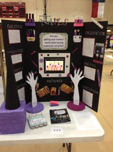 Last week was the annual TCS Science Fair. Hannah won first place in grade category! We were so excited. This year she decided to do her project on the testing of expensive nail polish a… Winning Science Fair Projects, Stem Fair Projects, Science Project Board, Science Fair Board, Elementary Science Fair Projects, Science Fair Experiments, Science Fair Projects Boards, Science For Kids, Science Activities