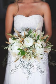White green and brown peony bride bouqute. Green White Rustic South African Wedding // Justin Davis Photography