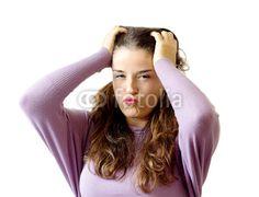 stressed girl over white background