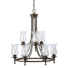 Hampton Bay Grace 9-Light Rubbed Bronze Chandelier-14688 - The Home Depot