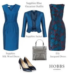 Hobbs sapphire blue dress and matching jacket outfits. Black court shoes and silver  bag. Two piece occasion wear, Mother of the Bride, Mother of the Groom winter wedding dress suits