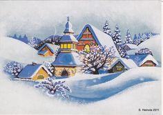 Mirja Vänni Vintage Christmas Cards, Christmas Art, Vintage Cards, Winter Christmas, Christmas Decorations, Victorian, Seasons, Classic, Artwork