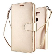 "LG G5 Case, Leathlux Luxury Premium Wallet Style Synthetic PU Leather Case Protective Cover with Card Slots Holder Magnetic Flip Closure Stand and Wrist Strap for LG G5 Dual H850 5.3"" Gold - Brought to you by Avarsha.com"
