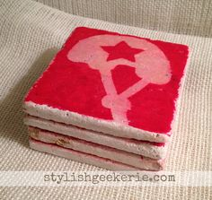 Roller Derby Jammer Tumbled Marble Coasters by stylishgeekerie, $24.00