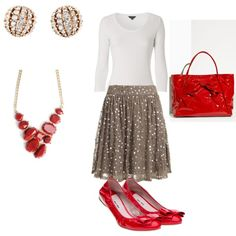Love love love the accessories, but I'd have to do this with jeans/slacks & a jacket or a one piece a-line dress & sweater.