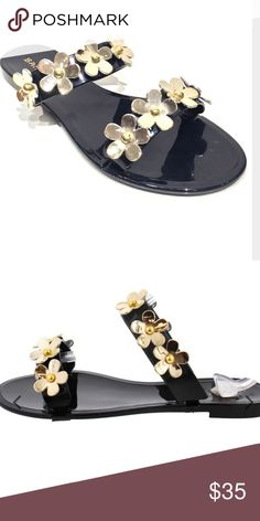 402c49e996 Black jelly sandals Black jelly sandals with gold flowers over straps. TTS.  Size 9