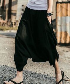 a Sarouel Pants, Harem Pants, Wide Pants, Midi Skirt, Skirts, How To Wear, Clothes, Black, Summer