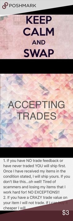 """Accepting Trades on most of my items! 😊 I Love to trade! I am looking for dressy work clothing right now and winter items. I am a size Medium and Large in tops and a size Large in pants. I wear anywhere from a size 27"""" to 29"""" in jeans depending on brand. I love ❤️ Free People, LF Emma & Sam, Buckle, some American Eagle, North Face for Coats, and my list goes on. I don't necessarily have to have name brand clothing... I just have to LIKE IT!! If you have anything that you think I would…"""
