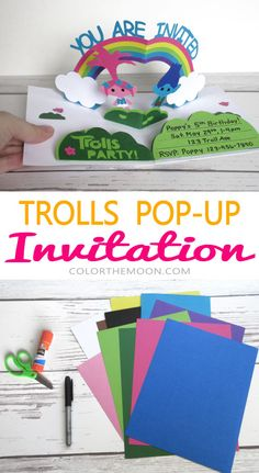 FREE printable! This POP-UP Trolls invitation is so awesome! What a great idea for a Trolls birthday party.
