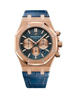 Audemars Piguet Royal Oak Chronograph Rose Gold With Blue Alligator Leather Watch - Watches Audemars Piguet Watches, Audemars Piguet Royal Oak, Fine Watches, Cool Watches, Men's Watches, Ap Royal Oak Chronograph, Gentleman, Most Popular Watches, Latest Watches