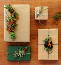 gift wrapping // kraft paper + florals + greens