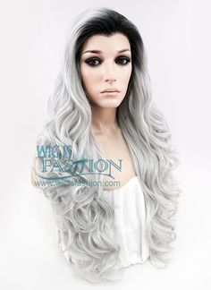 """24"""" Long Curly Black Mixed Grey Ombre Made-To-Order Lace Front Synthetic Hair Wig LF734A - Wig Is Fashion"""