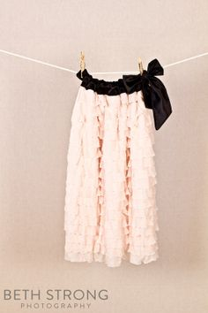 Blush Pink, White, Red Ruffles and Black Satin Tie Dress. Now available in Off-White with Champagne tie on Etsy, $34.95
