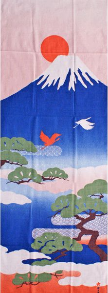 Japanese washcloth, Tenugui 濱文様絵てぬぐい「富士山と松」【てぬぐい】【富士山】【風景】【濱文様】【インテリア】